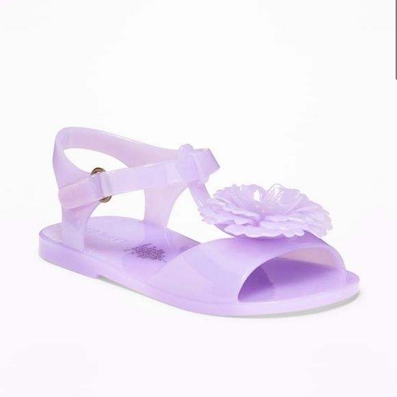 Old Navy Other - Old Navy Flower Appliqué Jelly Purple Sandals 9